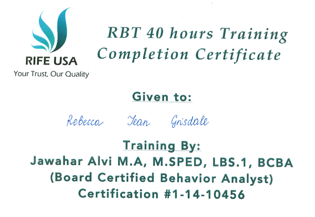 40 hour training certificate