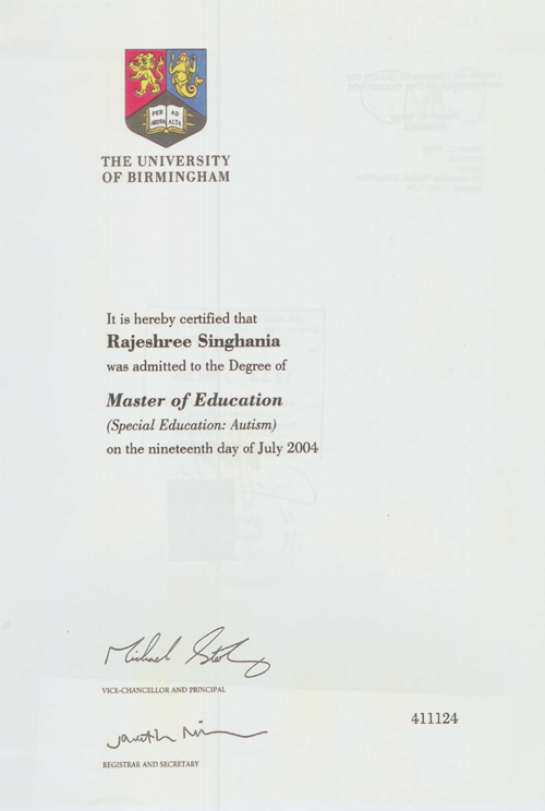 Certificate in Master of Education(The University of Birmingham)