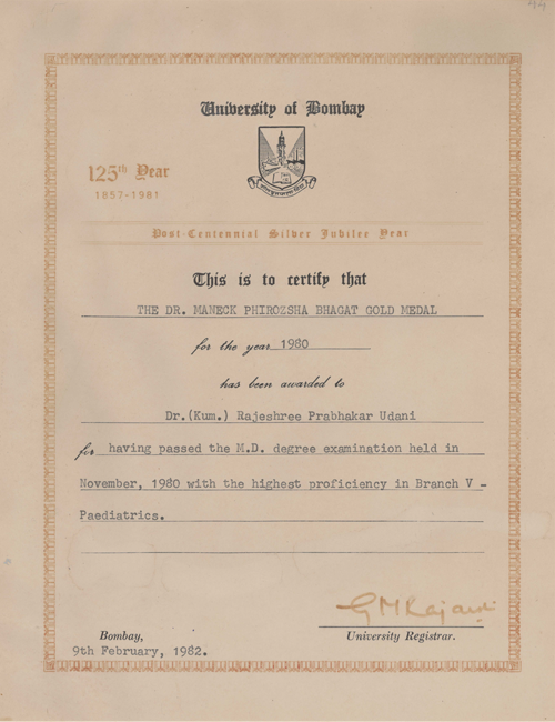 Certificate of Passing the M.D degree